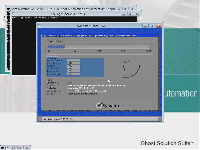 GSS 3.0:  Ghost 12 Image restore in WinPE 5.0